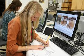 Interior design student working in studio
