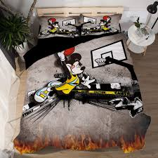 cool boy basketball mickey mouse duvet cover set 3d cartoon bedding