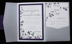 Foldable Invitation Template Dark Purple Black Silver Floral Pocketfold Wedding Invitations