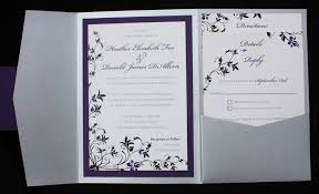 dark purple black silver fl pocketfold wedding invitations