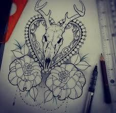 Collection of 25 Deer Skull Frame Tattoo Design