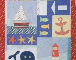 Nautical quilt | Etsy & Nautical quilt / Nautical patchwork and applique quilt for children -  PATTERN Adamdwight.com