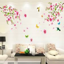 Butterfly Home Decor Accessories Fashion 100Set Hot 100X100cm Pink Peach Blossom Butterfly Bird Wall 19