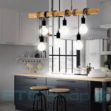 Design Pendel Lampe Küchentisch Beleuchtung Holzbalken Büro