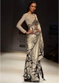Graduation Saree Design Black And White Saree Fashion Black White Saree Indian