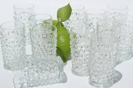 1930s vintage hobnail glass juice tumblers or liqueur glasses set crystal clear anchor hocking