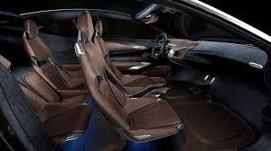 aston martin interior 2015. untuk dbx concept andalannya aston martin menghadirkan nuansa kombinasi bahan suede berwarna hitam yang membungkus sebagian besar dasbor panel pintu interior 2015