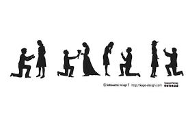 フリー素材 女性にプロポーズする男性のシルエットのベクターイラスト