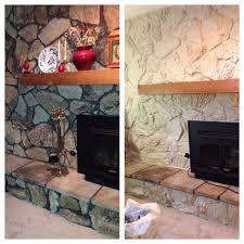 painted the stone now just need to frame out the mantel 70 s stone fireplace