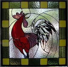 stained glass roosters rooster vintage lamp