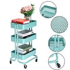 office trolley cart. 3 Tier Rolling Storage Kitchen Office Trolley Cart Fruit Vegetable Rack W/Wheels