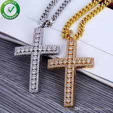 whole hip hop jewelry designer necklace iced out pendant mens cuban link chain gold diamond cross pendants luxury bling charms wedding rapper rock