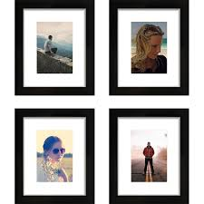 craig frames 8x10 black picture frame single white mat with 5x7 opening set of 4 com