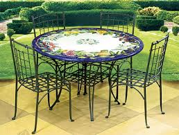 Popular of Ceramic Patio Table Colorful Classic Italian Ceramic Dining Table  Cast Iron Chairs