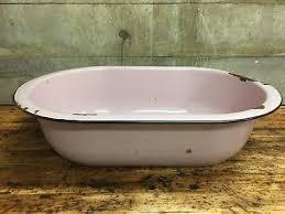 vintage large pink enamel porcelain baby bath tub wash basin bowl
