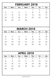 blank march calendar 2018 printable february march april 2018 calendar 3 month template 2018