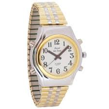 spanish talking watches spanish watches for the blind and low mens spanish royal tel time bi color talking watch expansion band price