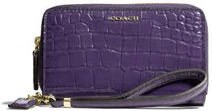 Lyst - Coach Madison Double Zip Phone Wallet in Croc Embossed Leather in  Purple