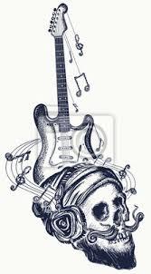 Obraz Kytarové A Lidské Lebkové Tetování A Tričko Design Elektro Kytara