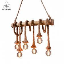 ซ อท ไหน bdbqbl country hemp rope pendant lights 3 6 heads e27 bulb creative hanging lamp rope lamp for bedroom dining room hanglamp