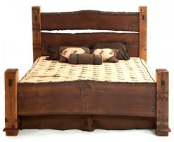 Rustic Bed With Natural Solid Wood Slabs