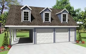 2 car garage with carport and extra storage on upper level garage house plan 351223