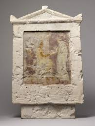 painted limestone funerary stele a seated man and two  painted limestone funerary stele a seated man and two standing figures