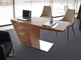 contemporary office desk. Contemporary Office Desk In A Lovely Walnut Finish With Drawers And Stainless Steel Base
