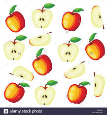 green and red apples clipart. red apples with green leaves and apple slice vector illustration. flat pattern background. clipart
