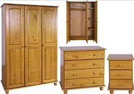 Solid Pine Bedroom Furniture Set   3 Door Wardrobe, Drawers, Bedside    Hampshire Solid