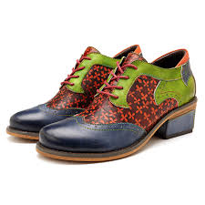 hot socofy socofy retro clover pattern hand colored genuine leather lace up comfortable shoes newchic