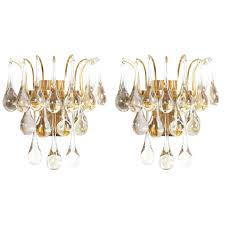 multiple palwa murano glass tear drop sconces wall lamps gold brass 1960 for
