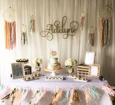 Dream Catcher Baby Shower Decorations Dessert table boho baby shower camila shower Pinterest 29