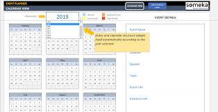 excel calandar dynamic event calendar interactive excel tempate