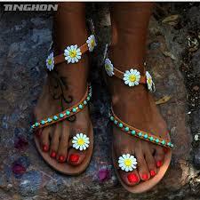 <b>TINGHON Summer</b> Women Shoes Sandals Flower White Daisy Blue ...