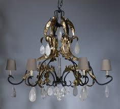 large 6 arm wrought iron leaf chandelier in grey distressed gold leaf finish