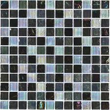 elida ceramica black oil glass uniform squares mosaic wall tile common 12 in