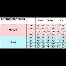 Bellino Clothing Size Chart