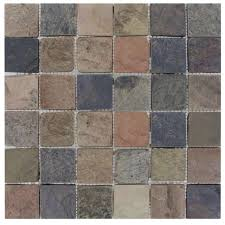 mixed color 12 in x 12 in x 10mm tumbled slate mesh mounted mosaic tile