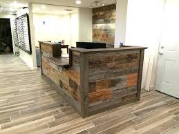rustic modern reception desk panel wood modern