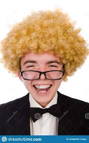 Funny Facial Hair Designs The Funny Man With Curly Hair Style Stock Photo Image Of