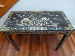 antique chinese black lacquer wood mother of pearl inlay writing desk table bird