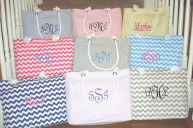 5 personalized bridesmaid gift totes in seerer or chevron embroidered beach bag monogrammed bridesmaids gifts