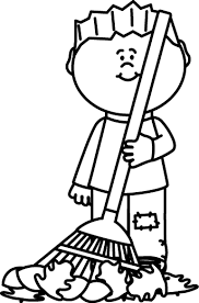 rake clipart black and white. Fine Black Clipart Black And White Black Kid Raking Leaves Painting Intended Rake Clipart And White