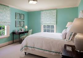 Tiffany Blue Bedroom with Sea Fans Over Black Desk