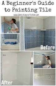 painting tile bathroom. tutorial on refinishing a shower or bathtub painting tile bathroom domestic imperfection