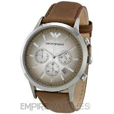 new mens emporio armani renato brown leather watch ar2471 rrp image is loading new mens emporio armani renato brown leather watch