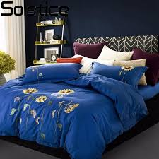 solstice textile quality nordic luxury bedding sets dark blue sunflower 100 cotton bed linen duvet cover sheet pillowcases dinosaur bedding double duvet