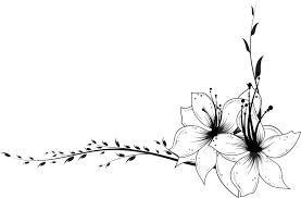 花のイラストフリー素材コーナーライン角 No003角素材 ユリ