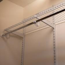 wire shelving with a hanger rod installation